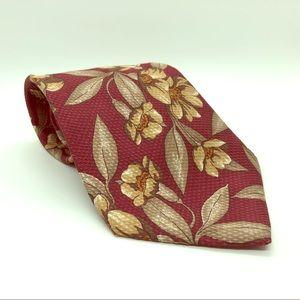 Floral Silk Tie - Merlot, Ivory, Taupe.